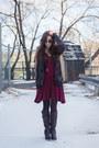 Crimson-polka-dot-asos-dress-gray-cardigan-covet-sweater