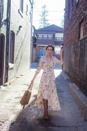 tawny riding Aldo boots - light pink maxi dress Arnhem dress