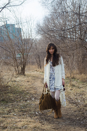 brown boots - ivory dress - brown purse - white cardigan