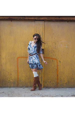 brown riding Aldo boots - blue boho Searching For Sage dress