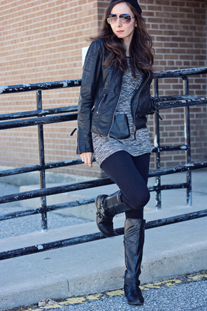 black riding Call it Spring boots - black moto le chateau jacket