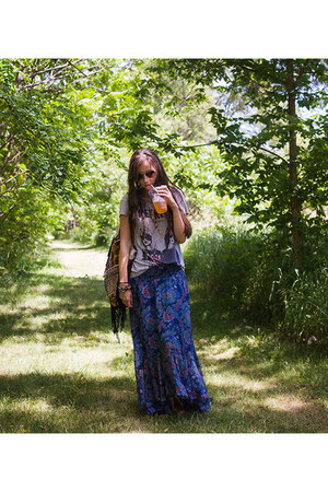 blue maxi skirt Anthropologie skirt - black fringe Muche et Muchette purse