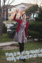 black Under Skies dress - brick red classic Gap cardigan