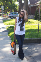 black ankle Walmart boots - navy bootcut Gap jeans - orange tribal unknown bag