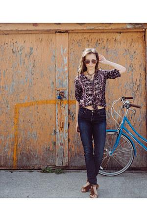navy skinny jeans Lucky Brand jeans - deep purple retro Spell Designs top