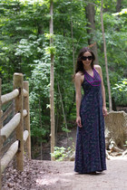 navy maxi Stradivarius dress - dark brown studded unknown sandals