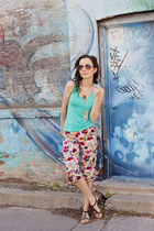 pink cropped harem pins and needles pants - aquamarine tank Smart Set top