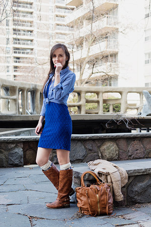 blue lace bodycon hello MISS dress - tawny riding Aldo boots