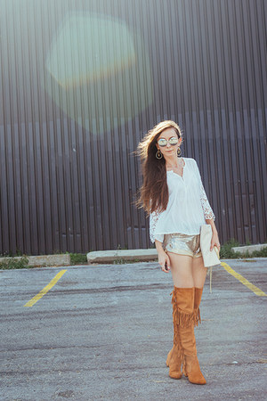 gold sequined Spell Designs shorts - tawny asos boots - white lace UO shirt