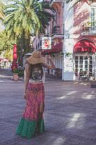 bubble gum maxi skirt Arnhem skirt - camel straw hat f21 hat