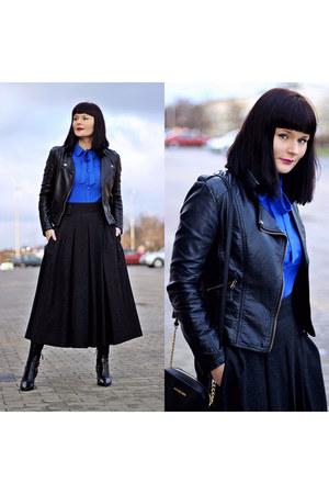 black Zara boots - blue twiggy shop shirt - black Michael Kors bag
