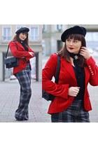 red H&M jacket - charcoal gray Diesel pants
