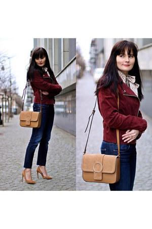 tan Zara bag - maroon Stradivarius jacket - tan Zara heels