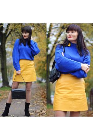 yellow zaful skirt - black sammydress boots - blue H&M sweater