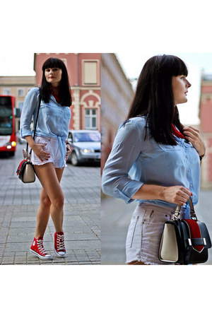 red Converse sneakers - light blue reserved shirt - black Zara bag