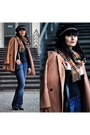navy H&M jeans - nude Burberry scarf - black c&a blouse