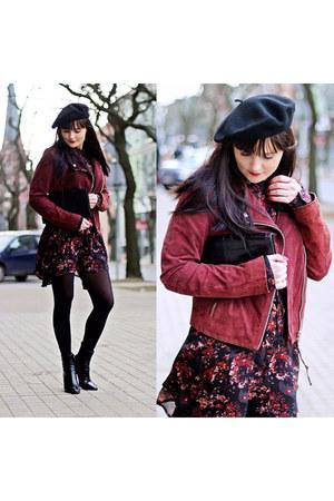 maroon Stradivarius jacket