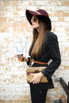 red hat - black blazer - black pants - brown glasses - brown bag - brown belt