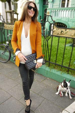 burnt orange Zara blazer - white Zara sweater - black Zara pants