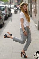 Jeffrey Campbell heels - boutique belgique hat - H&M shirt - see U soon pants