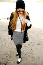 Vila skirt - Ray Ban sunglasses - Steve Madden flats - H&M cardigan