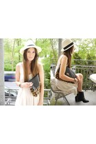 black H&M boots - off white H&M dress - cream FleaMarket hat - brown asos bag -