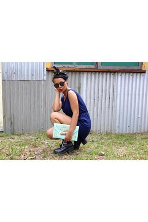 biker jacket - chunky asos shoes - aquamarine clutch my boutique bag