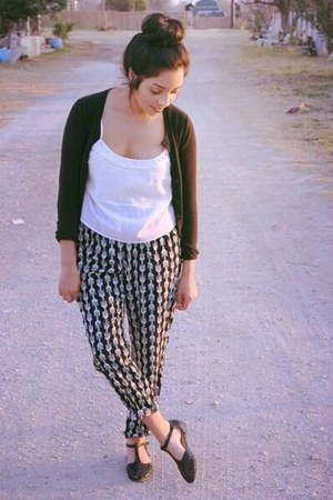 black Target cardigan - Forever 21 pants - threadsence top - threadsence flats