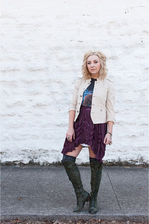 deep purple free people dress - army green Jeffrey Campbell boots