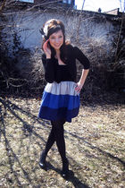 black H&M sweater - blue Marquis dress - black f21 shoes