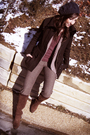 Black-h-m-coat-pink-target-shirt-brown-vintage-pants-beige-h-m-sweater