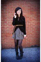 black f21 sweater - black Heritage skirt - brown f21 belt