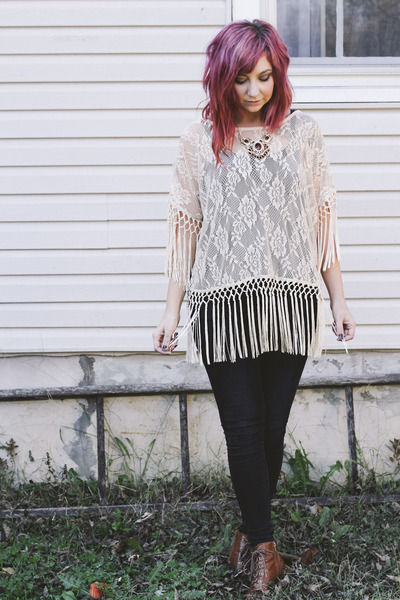 off white Urban Outfitters blouse - black BDG jeans