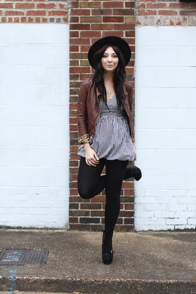 brown Forever 21 jacket - black H&M tights