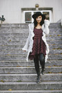 Charcoal-gray-jeffrey-campbell-boots-maroon-free-people-dress