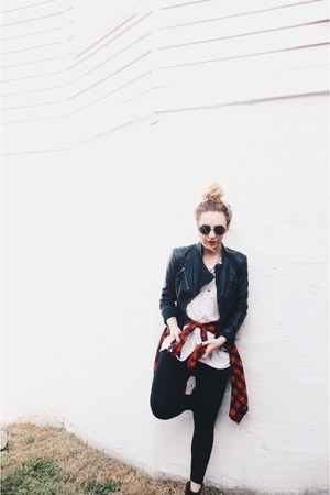 black Nordstrom jacket - white free people t-shirt