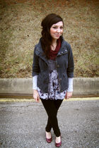 gray BB Dakota jacket - black delias leggings - purple Madden Girl shoes