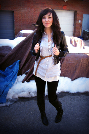 black BHPC jacket - black f21 boots - black delias leggings - blue f21 blouse