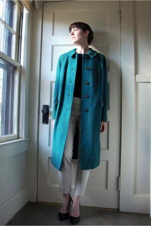 teal vintage coat