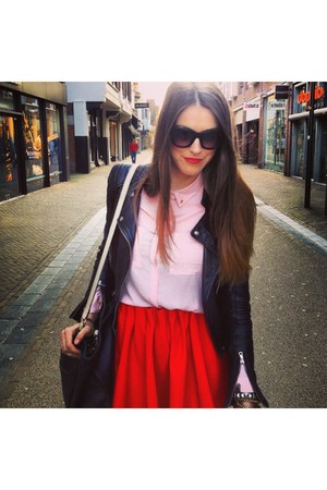 black real leather Zara jacket - red H&M Trend skirt - pink blouse