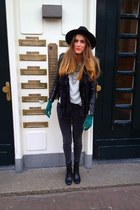 black leather Zara jacket - charcoal gray printed H&M jeans - green gloves