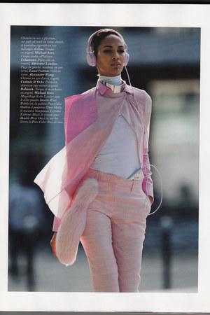 fake fox adrienne landau accessories - Louis Vuitton coat - Celine shirt
