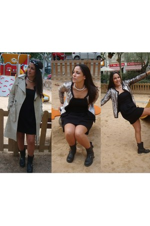 Mango jacket - Topshop boots - H&M dress - Mango coat - Louis Vuitton scarf