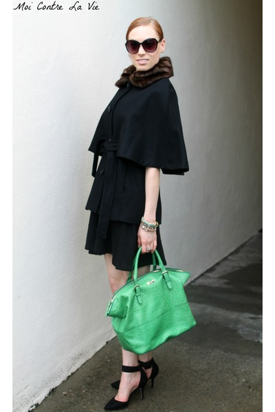 Betsey Johnson cape - Zara dress - Kate Spade NY bag - Zara heels