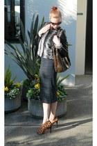 Aqua skirt - Ellen Tracy jacket - Furla bag - bcbg max azria heels