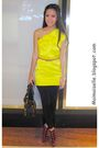 Yellow-river-island-dress-pink-topshop-belt-black-mango-leggings-purple-ch