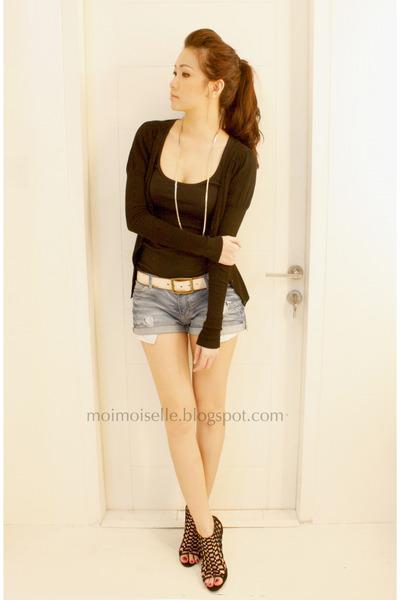 black Topshop top - black Zara cardigan - black Topshop shoes - blue Zara shorts