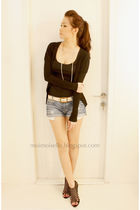 black Topshop top - black Zara cardigan - black Topshop shoes - blue Zara shorts
