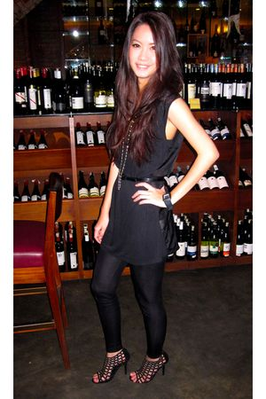 black Alexander Wang dress - black Topshop shoes - black Mango leggings - gold T