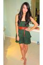 Green-zara-dress-brown-zara-belt-beige-christian-louboutin-shoes